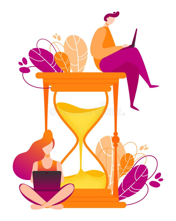 Hourglass vector illustration. Concept of time managment for social media marketing advertising vector illustration