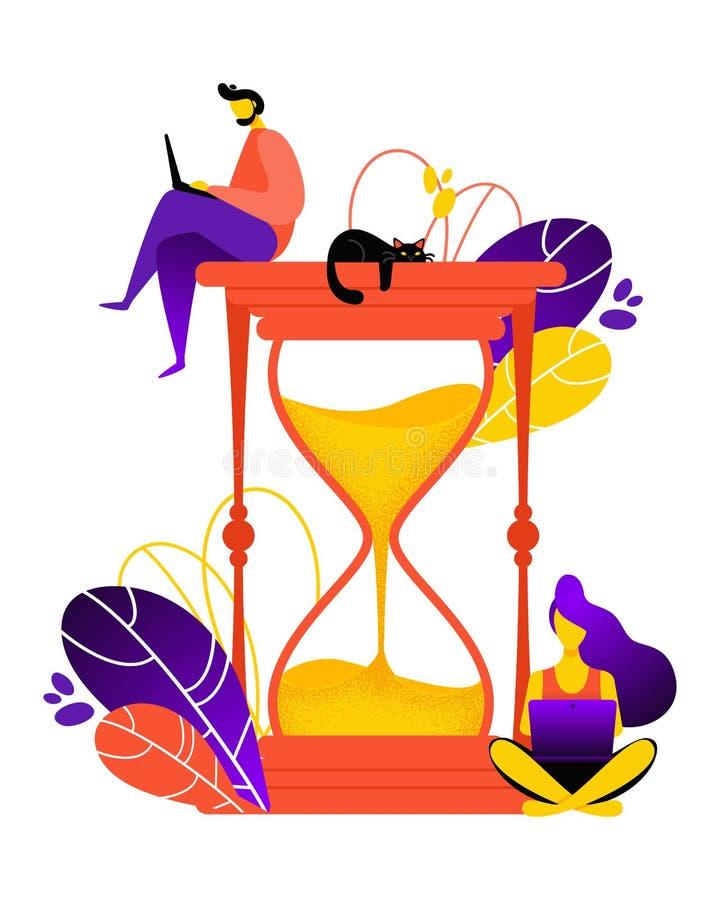 Hourglass wektoru ilustracja Pojęcie czasu zarządzanie dla ogólnospołecznej medialnej marketingowej reklamy ilustracja wektor