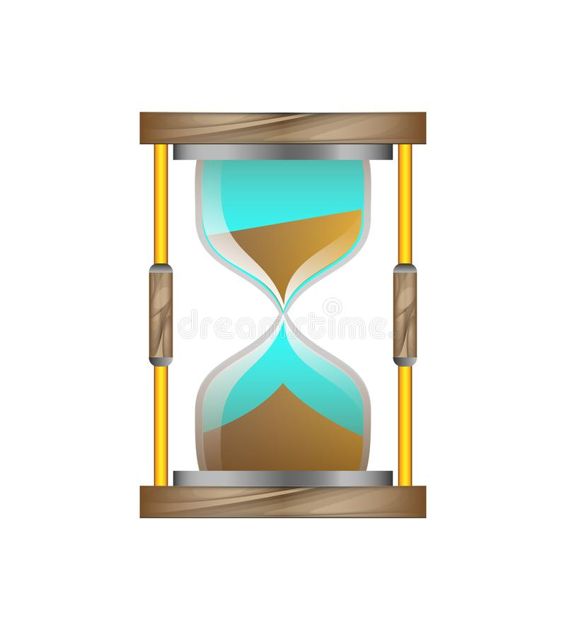 Hourglass with wooden base on a white background. Hourglass made of glass on a wooden base with brown sand vector illustration