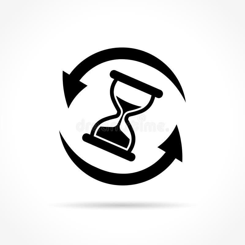 Hourglass z strzała ikoną ilustracja wektor