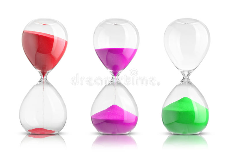 Hourglasses. Collection of hourglasses isolated on white background royalty free stock images