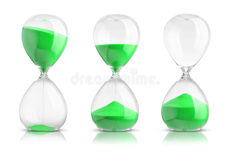 Hourglasses. Collection of hourglasses on white background stock photos