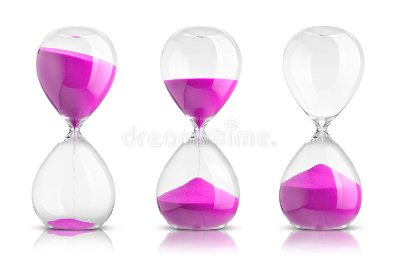 Hourglasses. Collection of hourglasses on white background stock photo