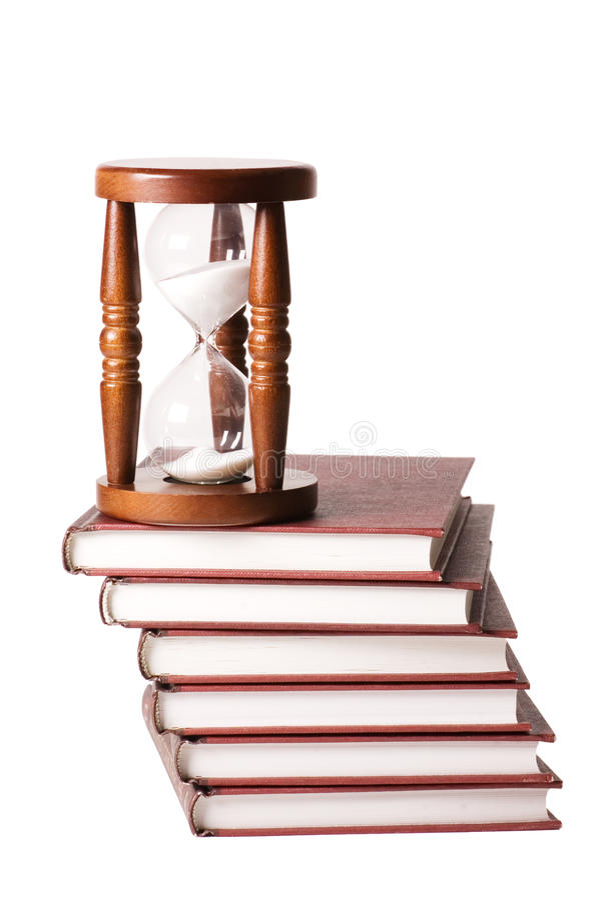 Hourglasses e livro isolados fotos de stock
