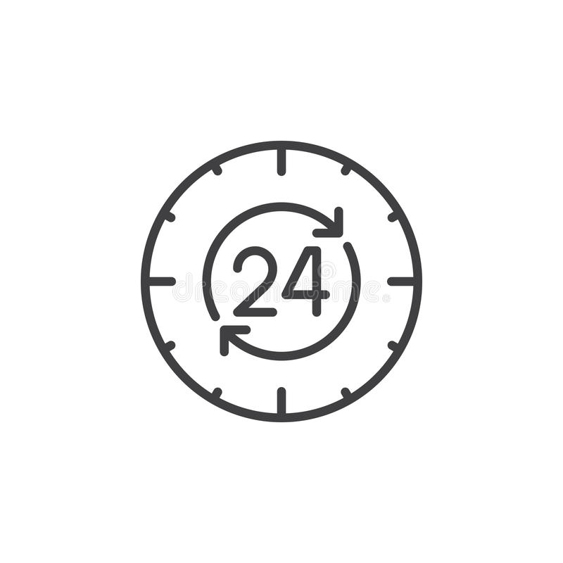 24 hours , around the clock line icon, outline vector sign, linear pictogram isolated on white vector illustration