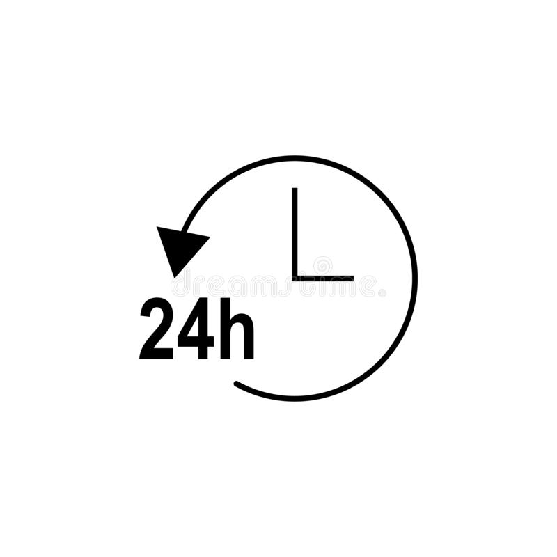 24 hours, arrow, circle, clock icon. Signs and symbols can be used for web, logo, mobile app, UI, UX stock illustration