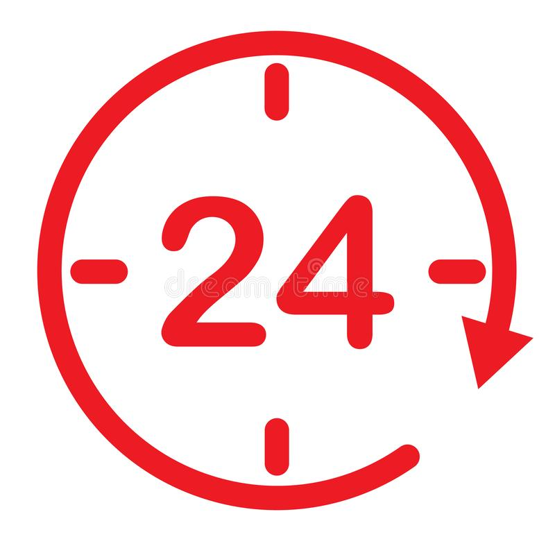 24 hours assistance. clock symbol. open 24 hours icon for your web site design, logo, app, UI. twenty four hour icon on white. Background. flat style. 24 hours stock illustration