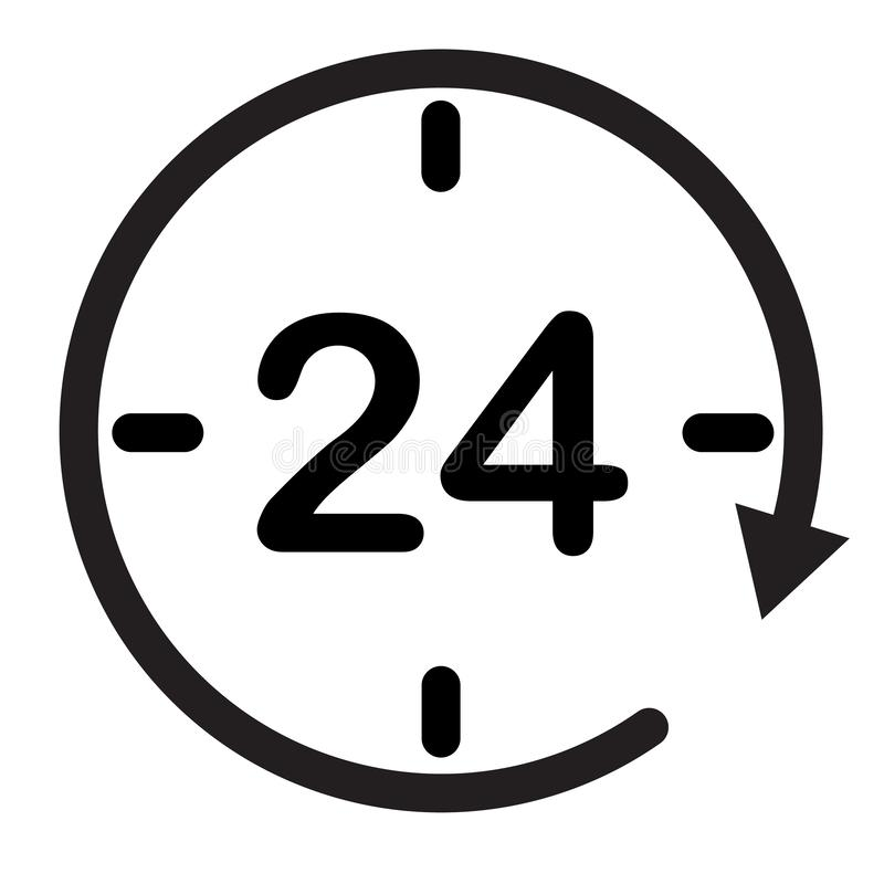 24 hours assistance. clock symbol. open 24 hours icon for your web site design, logo, app, UI. twenty four hour icon on white royalty free illustration