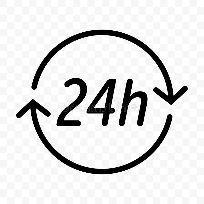 24 hours clock arrow vector icon. Round clock customer support, delivery or supermarket and store open symbol. 24 hours clock arrow vector icon. Round clock stock illustration
