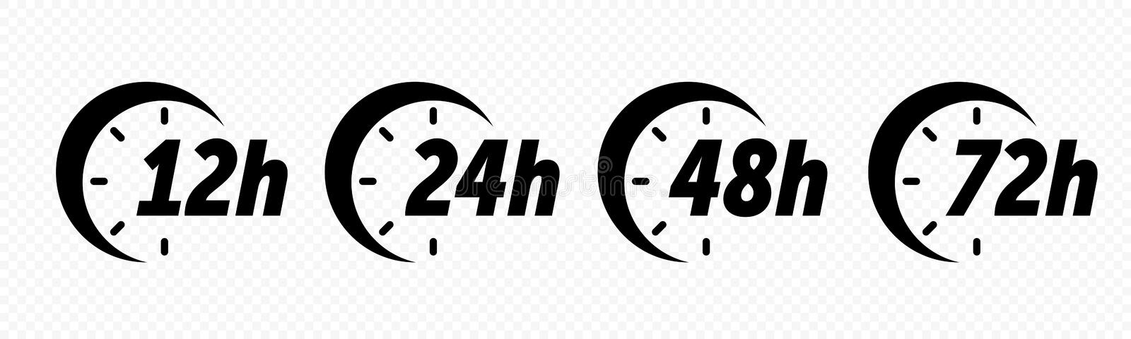 12, 24, 48 and 72 hours clock arrow vector icons. Delivery service, online deal remaining time web site symbols. 12, 24, 48 and 72 hours clock arrow vector icons royalty free illustration