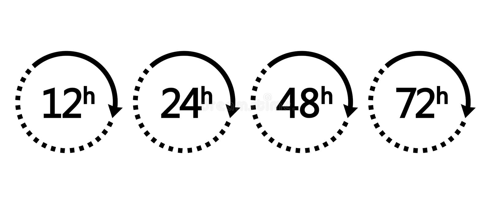 12, 24, 48 and 72 hours clock arrows. Set of black icons work time or delivery service time. Vector. Illustration royalty free illustration