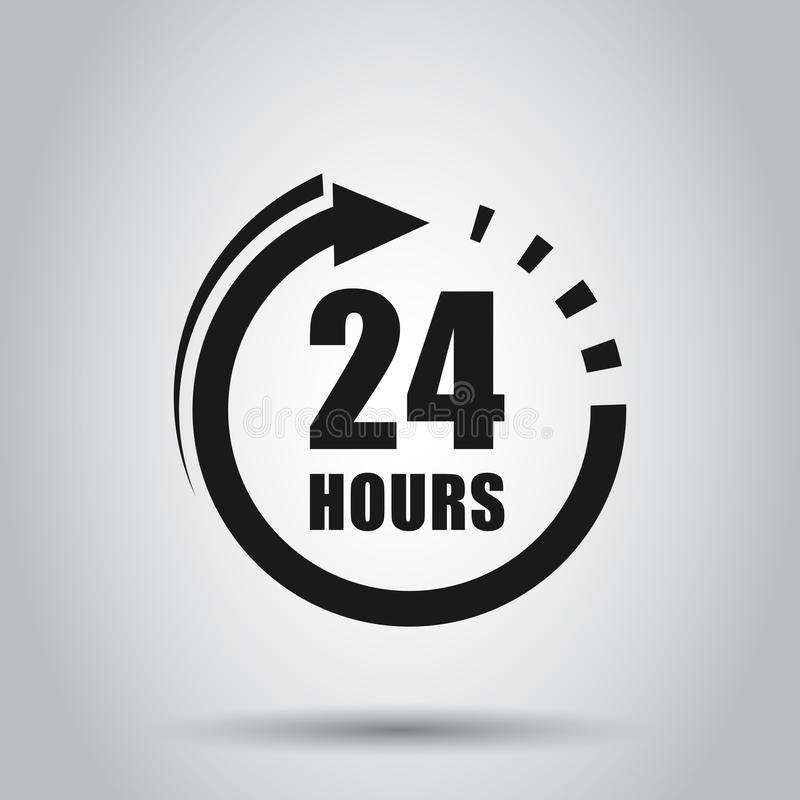 24 hours clock sign icon in flat style. Twenty four hour open vector illustration on isolated background. Timetable business. Concept vector illustration