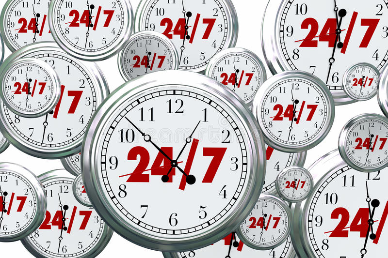 24 7 Hours Day Service Always Open Clocks Time. 3d Illustration royalty free illustration