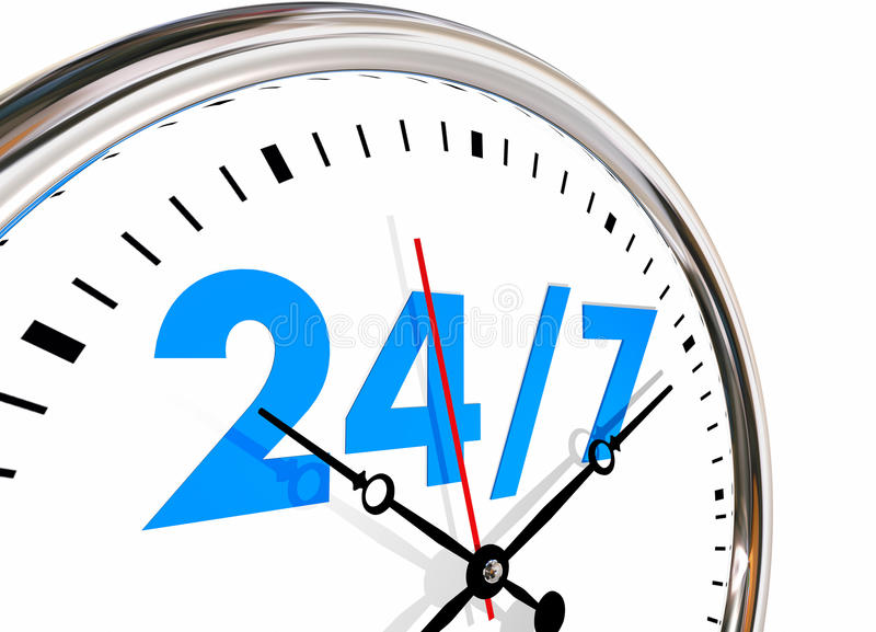 24 Hours 7 Days Week Numbers Clock. 3d Illustration vector illustration
