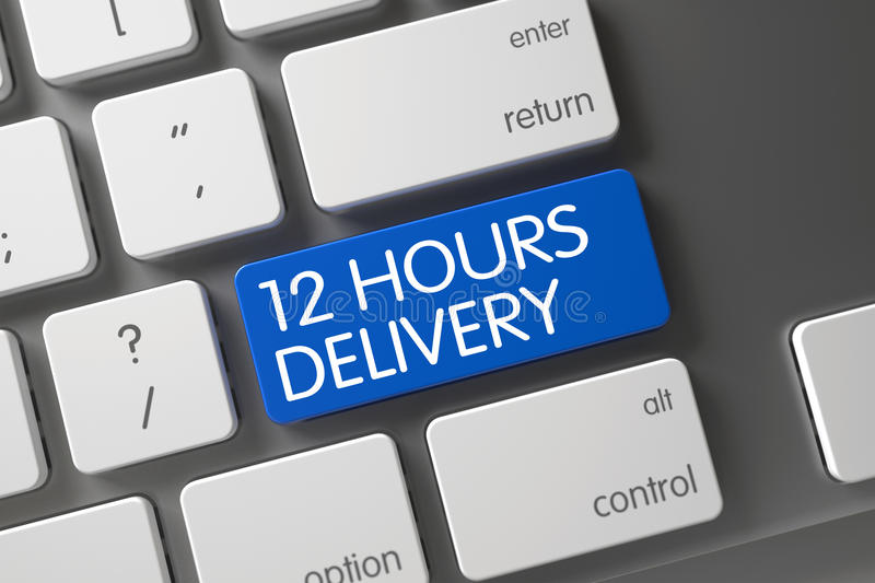 12 Hours Delivery Button. 3D. 12 Hours Delivery Concept: Modern Keyboard with 12 Hours Delivery, Selected Focus on Blue Enter Button. 3D Illustration stock photo