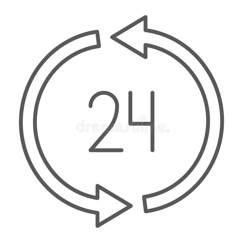 24 hours delivery thin line icon, service and delivery, twenty four hour sign, vector graphics, a linear pattern royalty free illustration