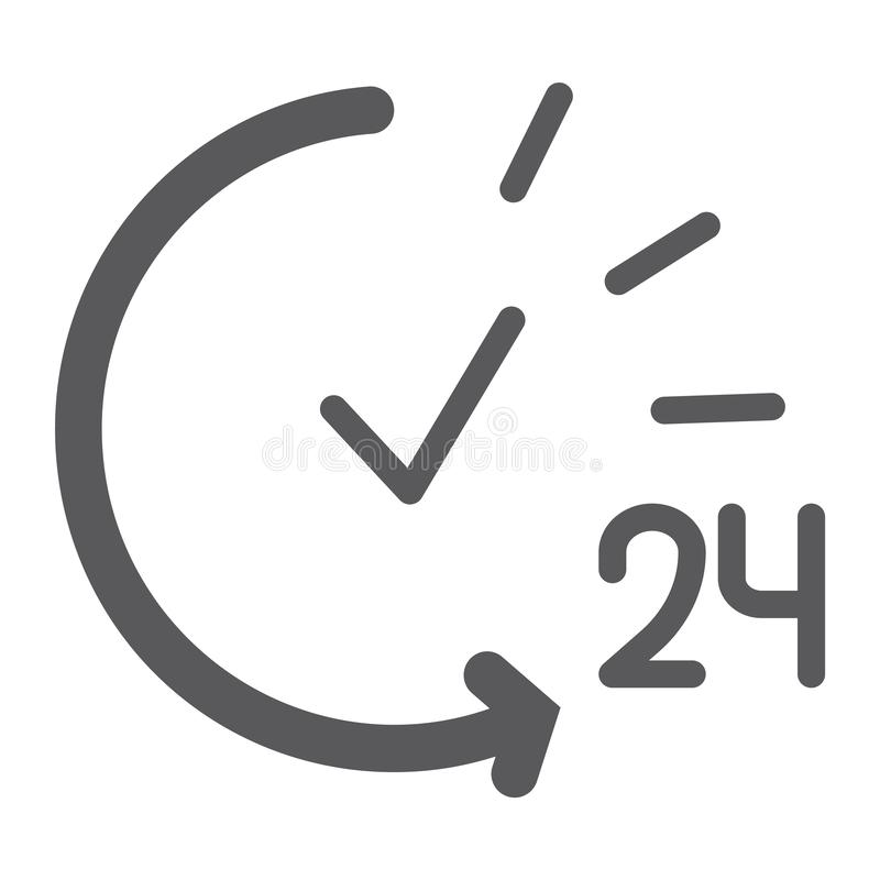 24 hours glyph icon, service and time, open all day sign, vector graphics, a solid pattern on a white background. 24 hours glyph icon, service and time, open royalty free illustration
