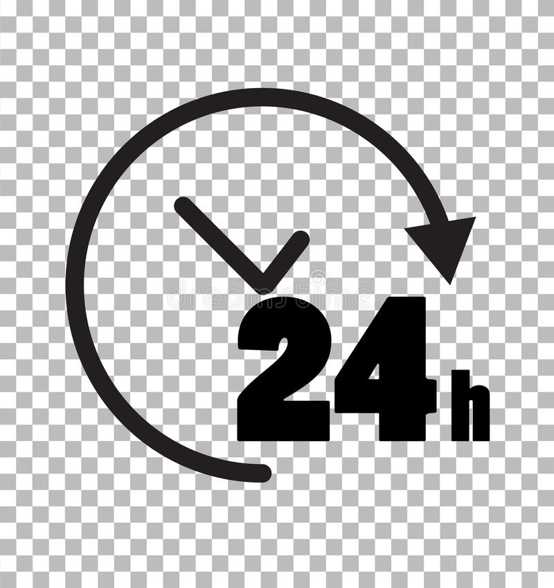 24 hours icon on transparent background. 24 hours service sign. 24 hours symbol. Flat style royalty free illustration