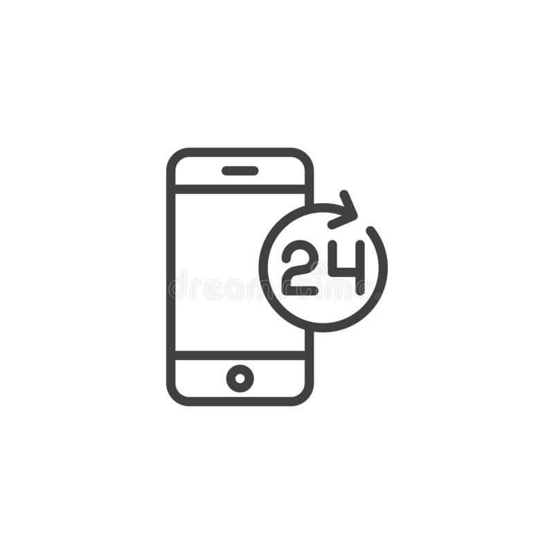 24 hours mobile service line icon vector illustration