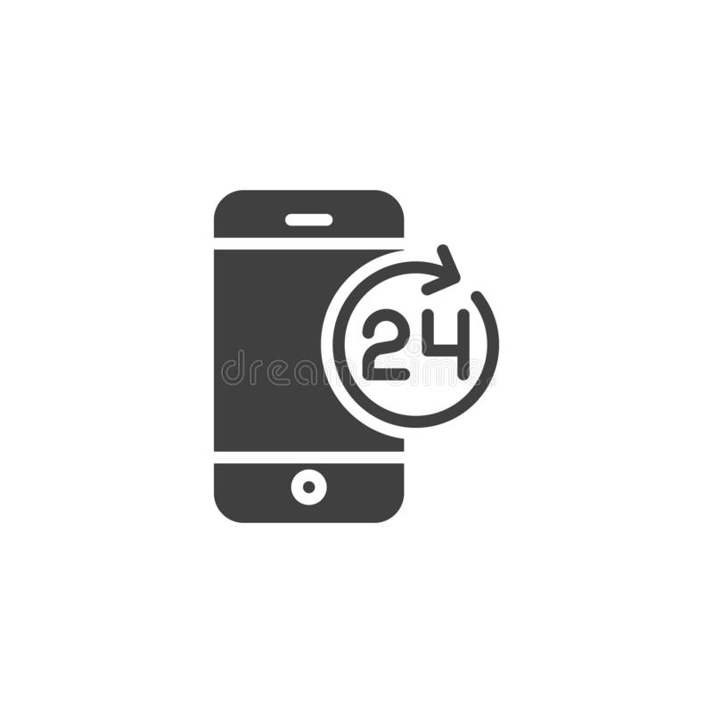 24 hours mobile service vector icon vector illustration