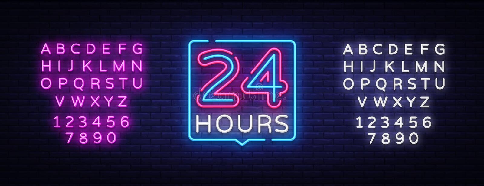 24 hours neon sign vector design template. 24 hours Open neon, light banner design element colorful modern design trend. Night bright advertising, bright sign stock illustration