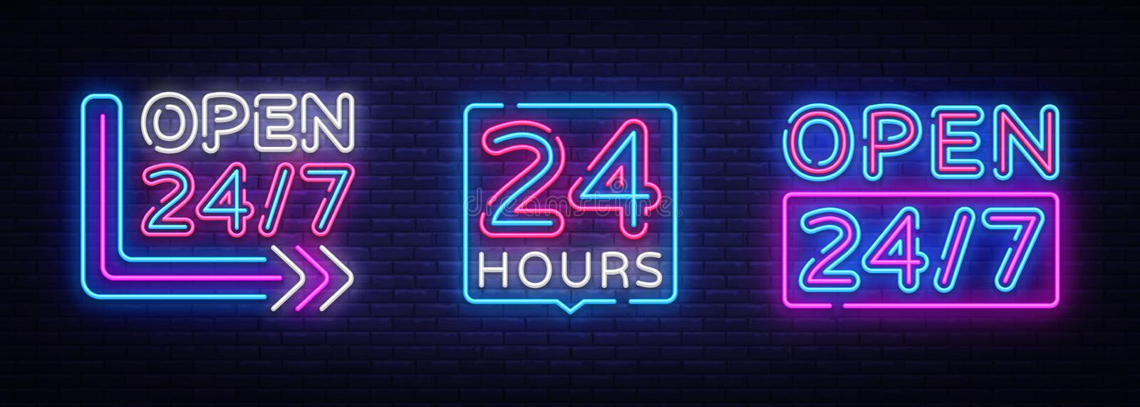 24 hours Neon signboards set Vector. Open all day neon signs, design template, modern trend design, night bright stock illustration