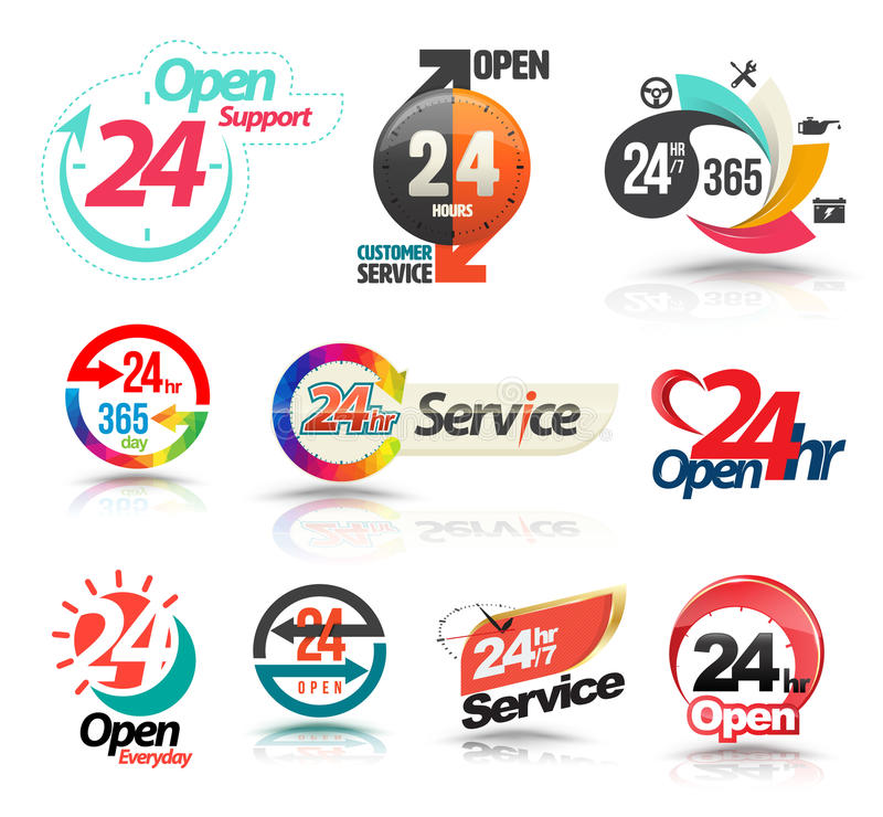 24 hours open customer service collection. Vector illustration stock illustration