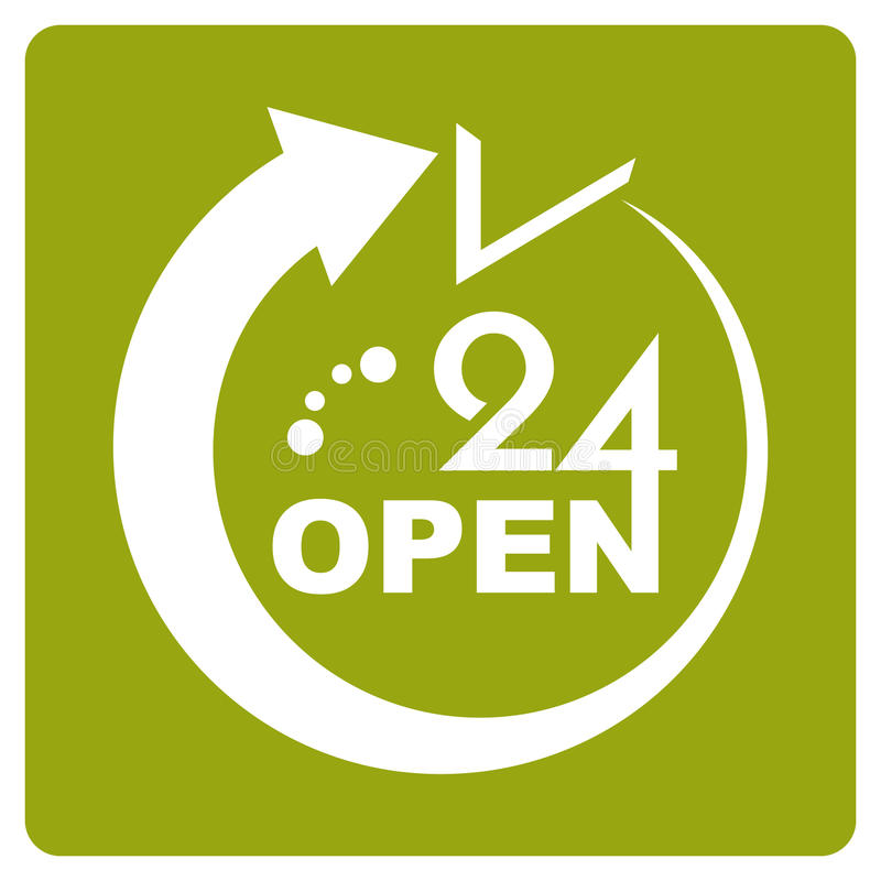 24 Hours Open icon. Green color vector illustration