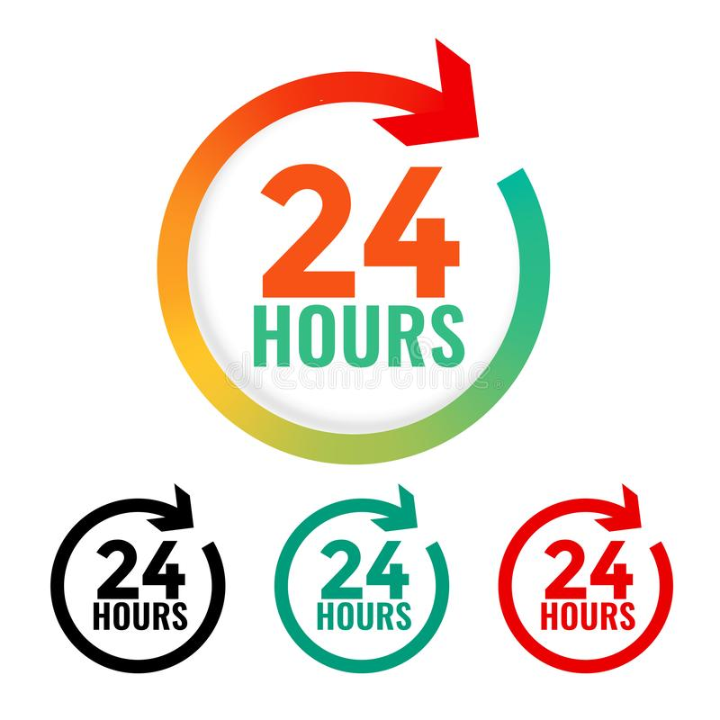 24 hours open icon in many colors. Vector royalty free illustration