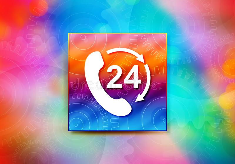 24 hours open phone rotate arrow icon abstract colorful background bokeh design illustration vector illustration