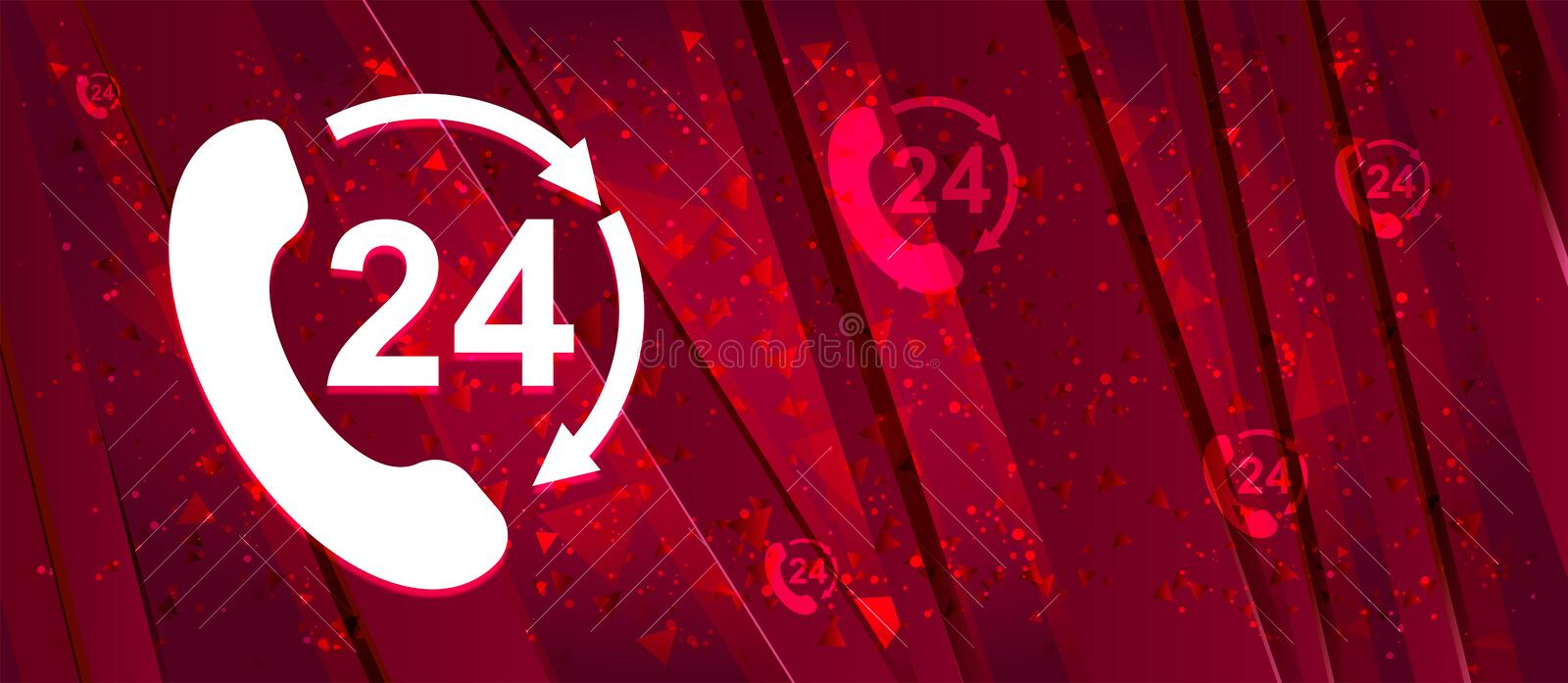 24 hours open phone rotate arrow icon Abstract design bright red banner background. 24 hours open phone rotate arrow icon isolated on Abstract design bright red royalty free illustration