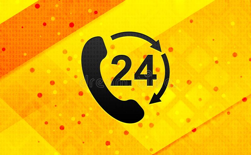 24 hours open phone rotate arrow icon abstract digital banner yellow background. 24 hours open phone rotate arrow icon isolated on abstract digital banner yellow royalty free illustration