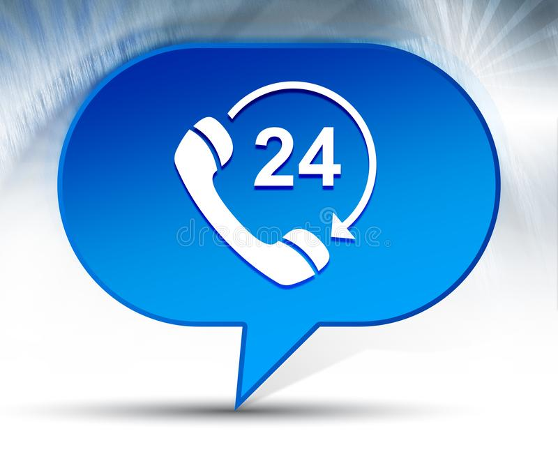 24 hours open phone rotate arrow icon blue bubble background. 24 hours open phone rotate arrow icon isolated on blue bubble background stock illustration