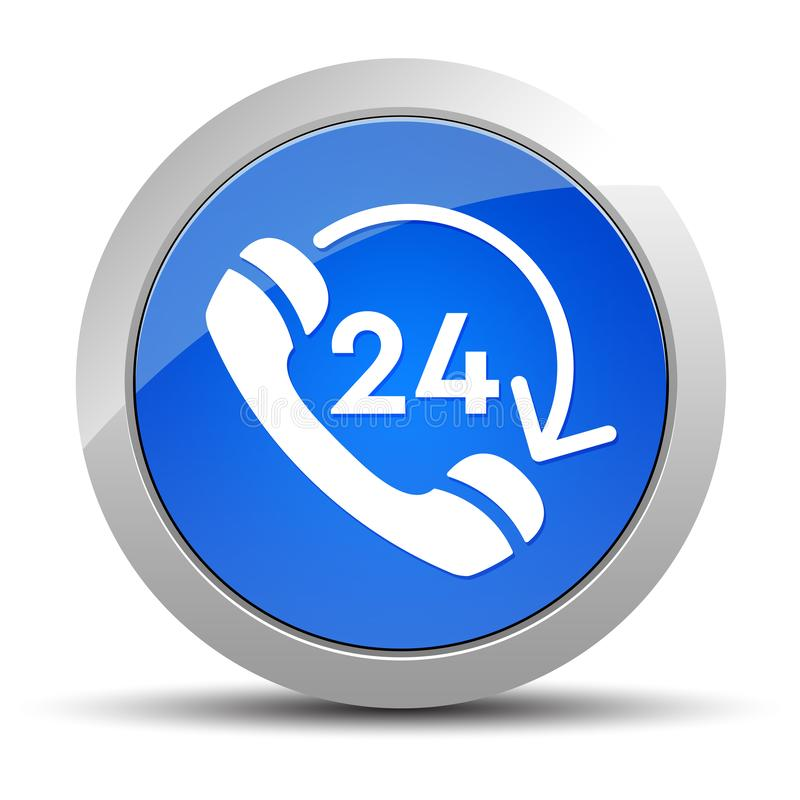 24 hours open phone rotate arrow icon blue round button illustration. 24 hours open phone rotate arrow icon isolated on blue round button illustration royalty free illustration