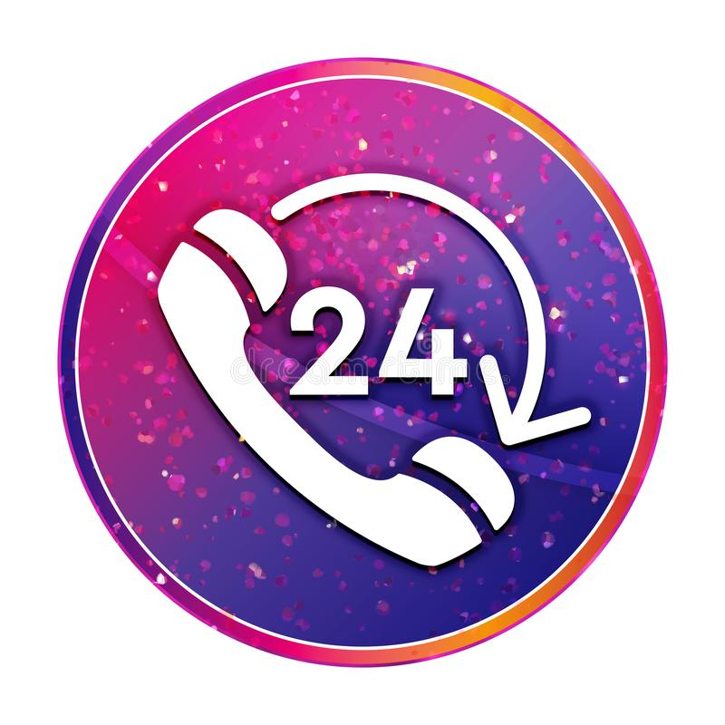 24 hours open phone rotate arrow icon creative trendy colorful round button illustration. 24 hours open phone rotate arrow icon isolated on creative trendy vector illustration