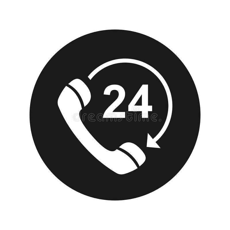 24 hours open phone rotate arrow icon flat black round button vector illustration. 24 hours open phone rotate arrow icon vector illustration design isolated on vector illustration