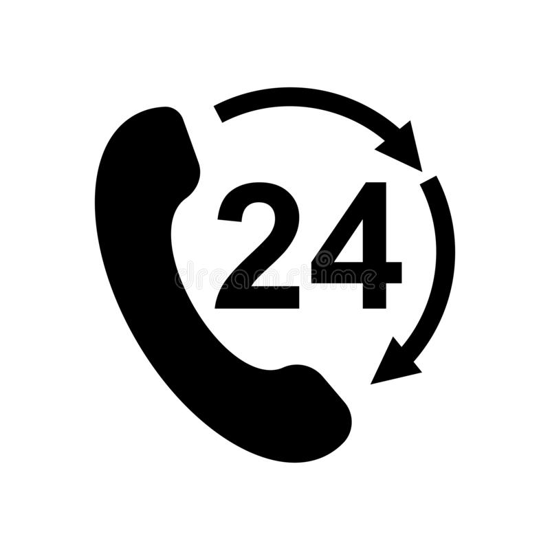 24 hours open phone rotate arrow icon flat vector illustration design. Isolated on white background royalty free illustration