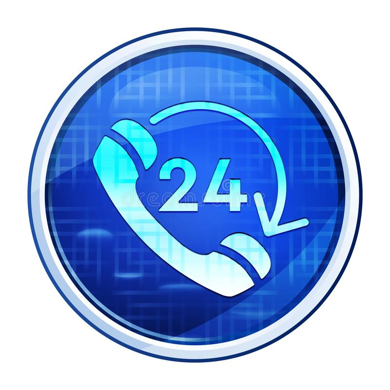 24 hours open phone rotate arrow icon futuristic blue round button vector illustration. 24 hours open phone rotate arrow icon isolated on futuristic blue round stock illustration