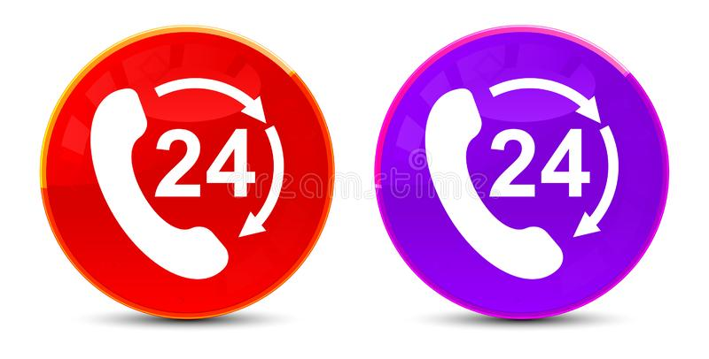 24 hours open phone rotate arrow icon glossy round buttons illustration. 24 hours open phone rotate arrow icon isolated on glossy round buttons illustration stock illustration