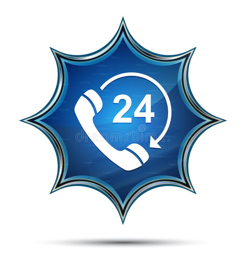 24 hours open phone rotate arrow icon magical glassy sunburst blue button. 24 hours open phone rotate arrow icon isolated on magical glassy sunburst blue button stock illustration