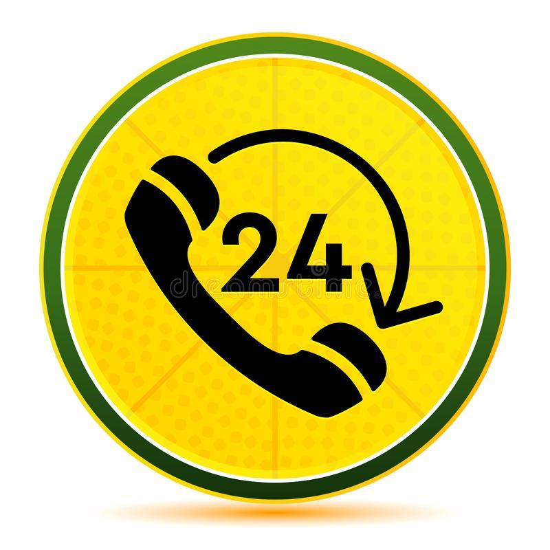 24 hours open phone rotate arrow icon lemon lime yellow round button illustration. 24 hours open phone rotate arrow icon isolated on lemon lime yellow round stock illustration