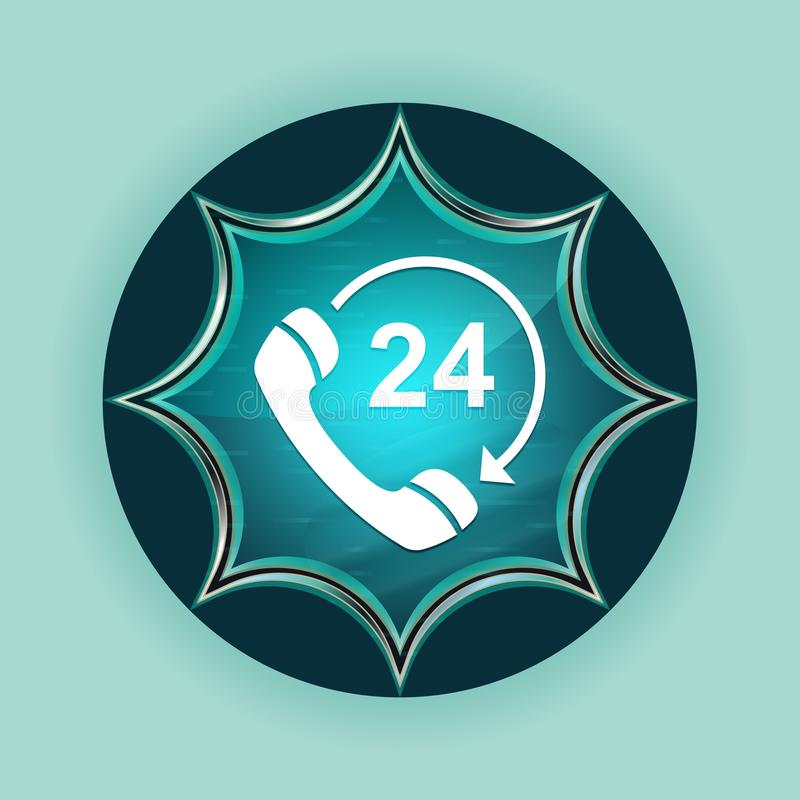 24 hours open phone rotate arrow icon magical glassy sunburst blue button sky blue background. 24 hours open phone rotate arrow icon isolated on magical glassy royalty free illustration