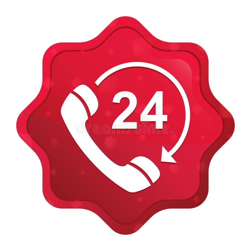 24 hours open phone rotate arrow icon misty rose red starburst sticker button. 24 hours open phone rotate arrow icon isolated on misty rose red starburst sticker stock illustration
