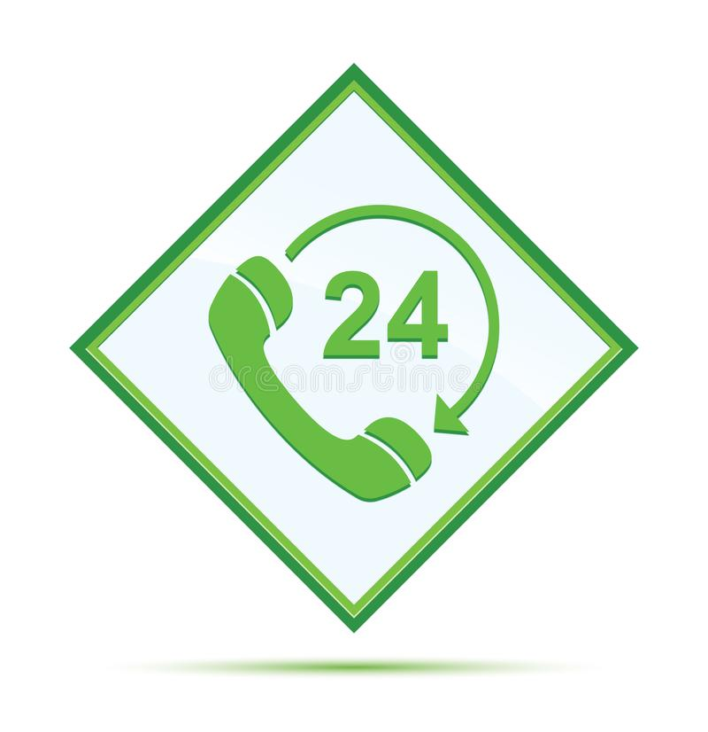 24 hours open phone rotate arrow icon modern abstract green diamond button. 24 hours open phone rotate arrow icon isolated on modern abstract green diamond stock illustration
