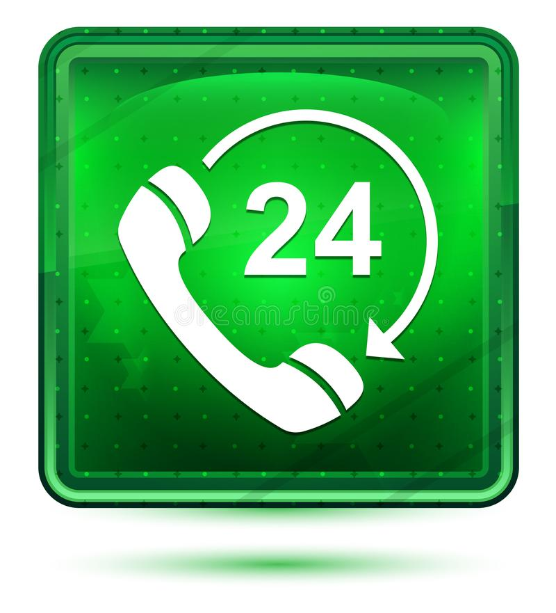 24 hours open phone rotate arrow icon neon light green square button vector illustration
