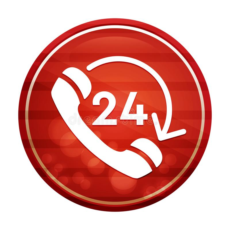 24 hours open phone rotate arrow icon realistic diagonal motion red round button illustration. 24 hours open phone rotate arrow icon isolated on realistic stock illustration