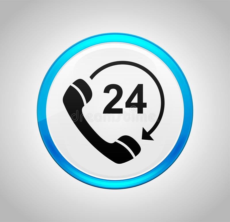 24 hours open phone rotate arrow icon round blue push button. 24 hours open phone rotate arrow icon isolated on round blue push button stock illustration