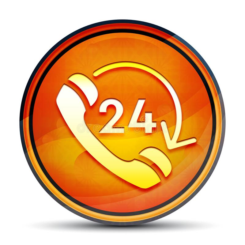 24 hours open phone rotate arrow icon shiny bright orange round button illustration. 24 hours open phone rotate arrow icon isolated on shiny bright orange round vector illustration