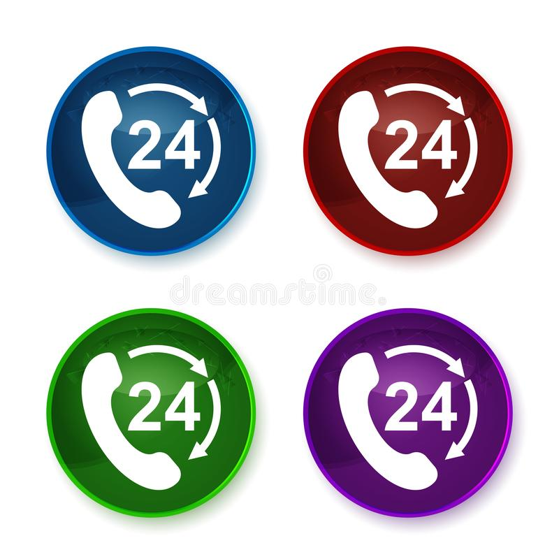 24 hours open phone rotate arrow icon shiny round buttons set illustration. 24 hours open phone rotate arrow icon isolated on shiny round buttons set stock illustration