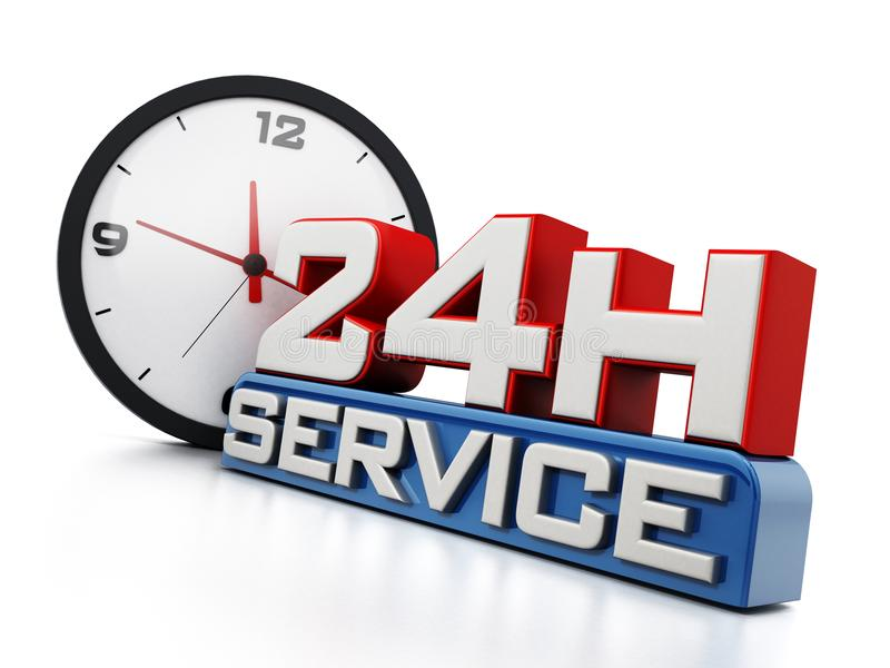 24 hours open text and clock isolated on white background. 3D illustration.  royalty free illustration